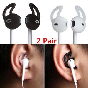 2 Pair In Ear Rubber Earbud Cover Skin w Ear Hook for iPhone Earphone Headset UK