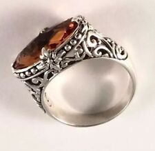 Sterling Silver Oval Cushion Cut Citrine Filigree Size 7 Ring R011005