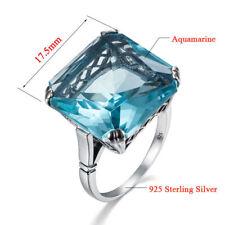 Ring Aquamarine 925 Solid Sterling Silver Handmade Gemstone Rings for Women Men