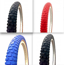 """Comp 2 Style 20"""" x 1.75 & 2.125 Skinwall Tyre - Old School BMX - Red Blue Black"""