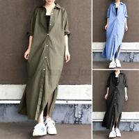 ZANZEA Women Oversize Buttons Down Shirt Dress Long Sleeve Casual Loose Kaftan