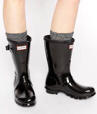 Women's HUNTER Original Glossy Short Black Rubber Rain Boots 6US/37EU