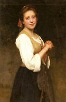 Oil painting Eugenie Marie Salanson - a young shepherdess girl in landscape art