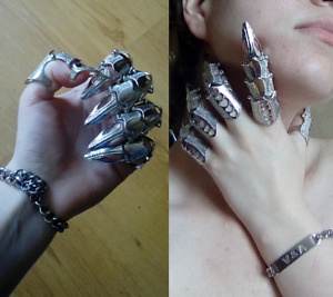 Unisex Full Finger Ring Claw Skull Gothic Armor Punk Knight Jewelry Сarnival