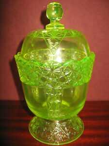 Vaseline glass daisy and button pattern Candy dish uranium sugar bowl coffee jar