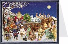 Santa Claus Sleigh And Reindeer Mini Advent Calendar Christmas Card
