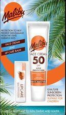 Malibu Sun Face Cream Lotion SPF 50 ,Lip Balm SPF 30 Twin Pack Travel Protection
