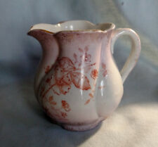 Münchner Kindl Miniature Cream Pitcher - Pink with Rust Colored Foliage - German