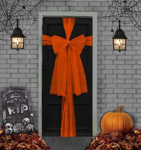 Orange Halloween Door Bow Kit - 9 Metres to Make Bow Decoration for Front Door