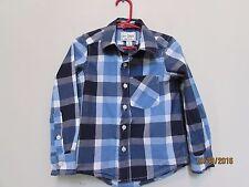 Boys size 4 XS The Children's Place Blue/Navy/White Plaid Dress Shirt Pocket