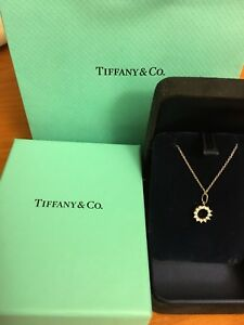 Authentic Tiffany platinum open circle 0.47Ct diamond pendant necklace 16 Inches