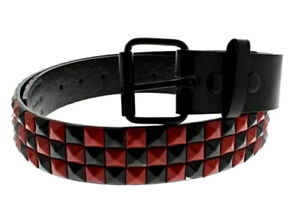 Unisex 3 Row Pyramid Studded Belt Black and Red - Brand New - Choose Size