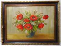 Ölbild Gemälde auf Leinwand signiert G. Baumgärtner Stilleben Mohnblumen Vintage