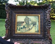 LE LAPIN AGILE OIL ON CANVAS PAINTING SIGNED UTRILLO CARVED HARD PLASTIC FRAME
