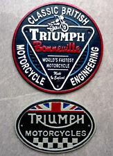 Triumph Motorcycle Signs x 2 Cast Iron Vintage Style Bonneville Motorbike