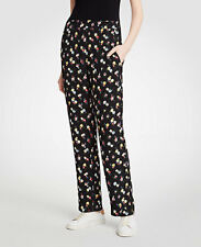 NWT Ann Taylor Petite XS Winter Floral Easy Pants $90 Sz XSP Black Yellow Red 16