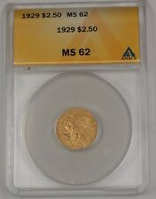 1929 US Indian Head Quarter Eagle $2.50 Gold Coin ANACS MS-62 B
