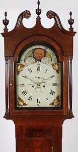 Josiah Smith Reading PA C 1820 Walnut Sheraton 8 day Tall Case Grandfather Clock