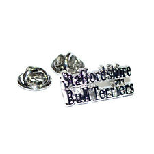 SILVER STAFFORDSHIRE BULL Terriers DOG LOVERS bavero pin badge Cani Terrier Nuovo