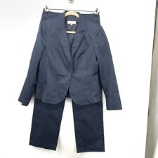 Talbots Women 8/10 Medium Pant Suit Blazer Jacket Blue White Pinstriped Stretch