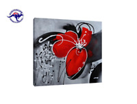 FRAMED HAND PAINTED BLACK WHITE & RED MODERN FLOWER CANVAS OIL PAINTING