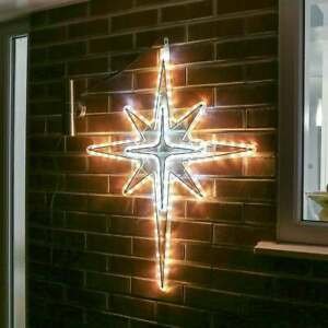 95cm Outdoor LED Rattan Christmas North Star Motif Silhouette Twinkle Rope Light