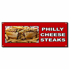 Philly Cheese Steak Food And Drink Vinyl Banner Sign W/ Grommets 2 ft x 4 ft