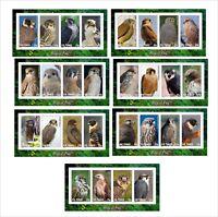 2012 FALCONS BIRDS OF PREY OISEAUX 7 SOUVENIR SHEETS MNH IMPERFORATED