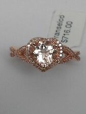 New 10K Rose Gold Heart Shape Morganite and 0.25ct twt Diamond Pave Ring Size 6