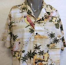 Vintage RJC  Birds Snack Shop Surf Spot Hawaiian Shirt Size XL Aloha Hawaii Lei