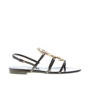 SAINT LAURENT women shoes Black leather Cassandra flat sandal with YSL logo
