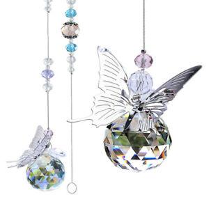 Crystal Ball Rainbow Maker Hanging Sun Catcher Home Window Butterfly Decor Room