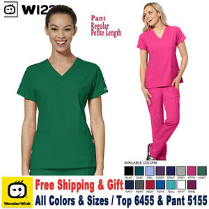 WonderWink Scrubs Set W123 Women's Women's V-Neck Top & Cargo Pant 6455/5155