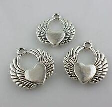 6pcs Tibetan Silver Angel Love Heart Wings Charms Pendants 19x22mm