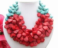 "KE092412 19"" 3Strands Turquoise Coral Necklace"