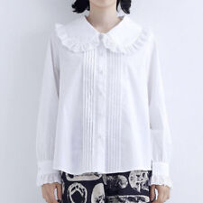 Korean Style Girls Doll Collar Lace Loose Shirts Long Sleeve Blouse Tops 2Colors