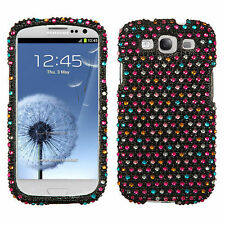 For Samsung Galaxy S3 - DIAMOND BLING HARD CASE COVER PINK BLUE BLACK POLKA DOTS