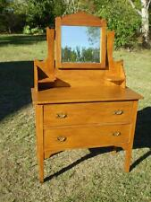 Vintage maple Dressing Table & shaped timber framed Mirror, Dutches Collectable