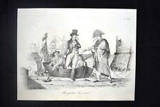 Incisione d'allegoria e satira De Corcelles, Civitavecchia Don Pirlone 1851