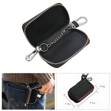 Durable Leather Car Key Chain Holder Zipper Case Remote Wallet AMG