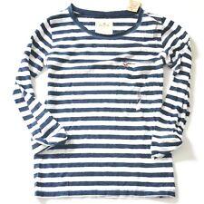 New Hollister Womens White / Navy Striped 3/4 Length Shirt Top XS
