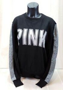 Victoria's Secret PINK Sweatshirt Small Pullover Crew Black VS Glitter Logo New