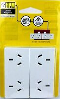 HPM 2 Pack Double Adaptors Turn 2 Outlets into 4 Extends Left & Right Electrical