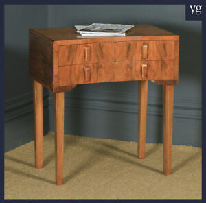 Antique English Art Deco Figured Walnut Concave Bedside / Occasional Side Table