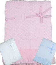 BabyPrem Baby Nursery Bedding Boys & Girls Shawl Blue Pink White Ribbon Blanket