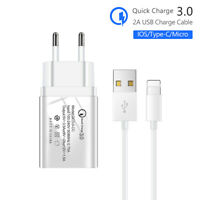 WALL CHARGER QUICK CHARGE 3.0 USB ADAPTER FOR SAMSUNG HUAWEI XIAOMI WITH CABLE
