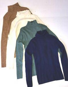 Lot 4 PENDLETON Virgin Wool Women's S 34 Turtle Neck Sweaters Zip Back Vintage