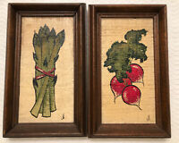 """Pair Vintage 70s Framed Paintings Vegetable Still Life 5.25"""" x 8.75"""" Signed"""