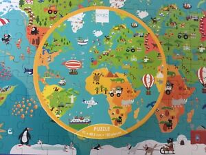 World Map Puzzle 150 Pieces Scratch Europe Play & Learn Round Box