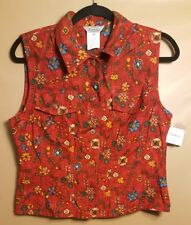 Ladies Vest Red Shirt Top sz M Stonebridge 100% Cotton
